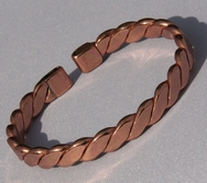 Non Magnetic Solid Pure Copper Flattened Rope Bracelet ( CCB-NMBF )