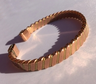 Non Magnetic Solid Twisted Pure Copper & Brass Bracelet ( CCB-NMBB23 )