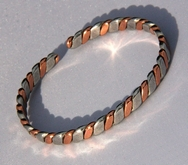 Non Magnetic Solid Copper 2 Colour Lightweight Bracelet ( CCB-NMBB36 )