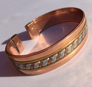 Magnetic Solid Copper 3 Coloured Band Bracelet ( CCB-MB34 )