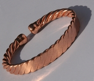 Non Magnetic Flattened Rope Solid Pure Copper Bracelet ( CCB-NMBB63 )