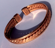 Magnetic Flattened Rope Solid Pure Copper Bracelet with Side Bars ( CCB-MB19 )