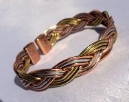 Magnetic 3 Coloured Plait Solid Pure Copper Bracelet ( CCB-MB30 )