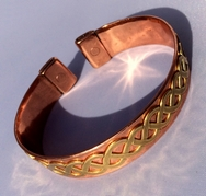 Magnetic Solid Pure Copper Band with Brass Celtic Twist Bracelet ( CCB-MB32 )