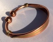Magnetic Solid Pure Copper inlaid with Brass Torque Bracelet ( CCB-MB35 )