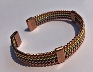 Magnetic Solid Pure Copper - 4 Stand 3 Colour Bracelet ( CCB-MB53 )