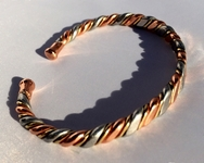 Magnetic Solid Copper 3 Coloured Narrow Bracelet ( CCB-MB8 )