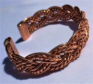 Magnetic Solid Copper Aztec Weave Bracelet ( CCB-MB83 )