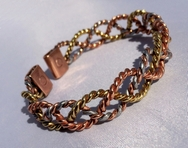 Magnetic Solid Pure Copper - 3 Colour Lace Bracelet ( CCB-MB16 )