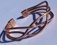 Magnetic Solid Copper - Wide Crossover Copper Bracelet ( CCB-MB95 )