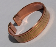 Magnetic Solid Pure Copper - Wide Copper Bracelet inlaid with Brass ( CCB-MB33 )