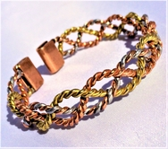 Non Magnetic Solid Pure Copper - 3 Colour Lace Bracelet ( CCB-NMBB1 )