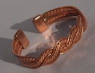 Magnetic Solid Copper Aztec Twist Bracelet ( CCB-MB22 )
