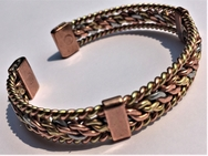 Magnetic Solid Pure Copper 3 Colour Entwined Bracelet with Side Bars ( CCB-MB20 )