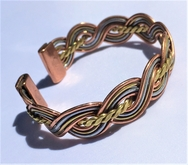 Magnetic Solid Pure Copper Bracelet - 3 Colour Plait with Brass Centre Twist ( CCB-MB52 )