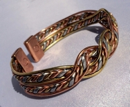 Non Magnetic Solid Pure Copper and Brass Aztec Twist Bracelet ( CCB-NMBB32 )