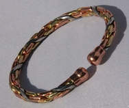 Non Magnetic Solid Pure Copper 3 Colour Entwined Bracelet ( CCB-NMBS6 )