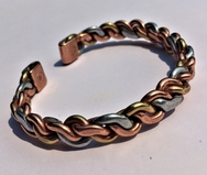 Magnetic Solid Pure Copper 3 Coloured Knit Bracelet ( CCB-MB9 )