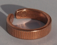 Magnetic Solid Pure Copper Lines Pattern Ring ( CCB-MR9)