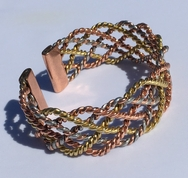Non Magnetic Solid Pure Copper - Wide 3 Colour Lace Bracelet ( CCB-NMBB6 )