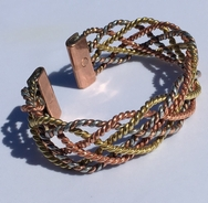 Magnetic Solid Pure Copper - Wide 3 Colour Lace Bracelet ( CCB-MB47 )