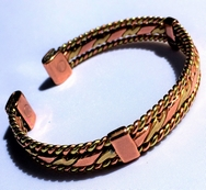 Magnetic Solid Pure Copper Bracelet - Copper and Brass Twist with Side Bars ( CCB-MB28 )