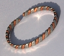 Non Magnetic Solid Pure Copper 2 Colour Lightweight Bracelet ( CCB-NMBB36 )