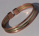 Magnetic Solid Copper Copper / Brass Triple Bracelet ( CCB-MB54 )