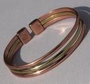 Magnetic Pure Copper Copper / Brass Triple Bracelet ( CCB-MB54 )