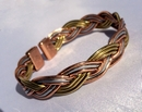 Magnetic 3 Coloured Plait Solid Copper Bracelet ( CCB-MB30 )