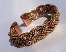 Magnetic Solid Copper and Brass Aztec Weave Bracelet ( CCB-MB86 )
