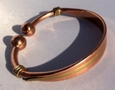 Non Magnetic Solid Copper inlaid with Brass Torque Bracelet ( CCB-NMBS5 )