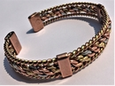 Magnetic Solid Copper 3 Colour Entwined Bracelet with Side Bars ( CCB-MB20 )