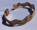 Magnetic Solid Pure Copper - Wide Copper and Brass Wave Bracelet ( CCB-MB98 )