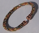 Non Magnetic Solid Copper 3 Colour Entwined Bracelet ( CCB-NMBS6 )